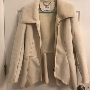 Bebe cream faux sheepskin jacket/light coat. XS